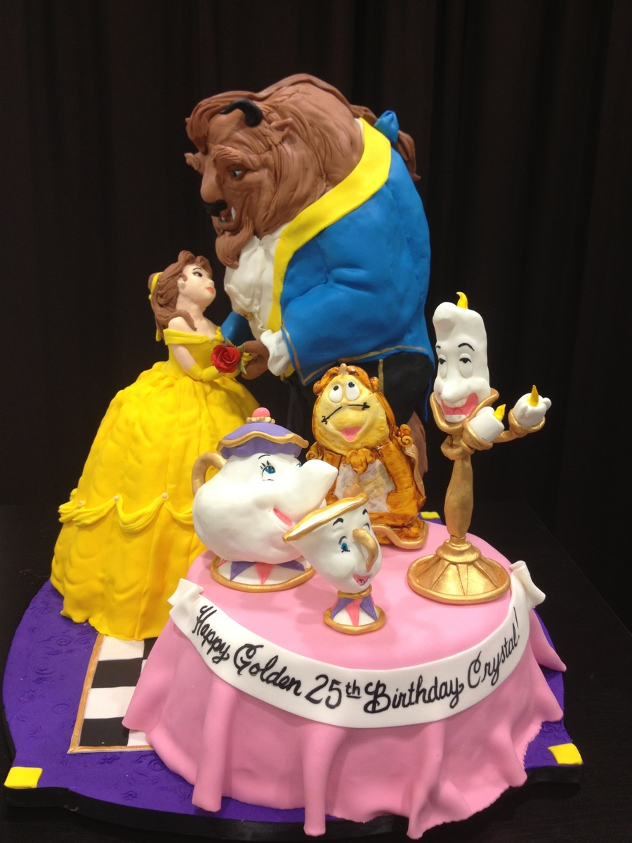 Belle And The Beast 20 Tall 3 Different Flavors With Fondant Figures on Cake Central