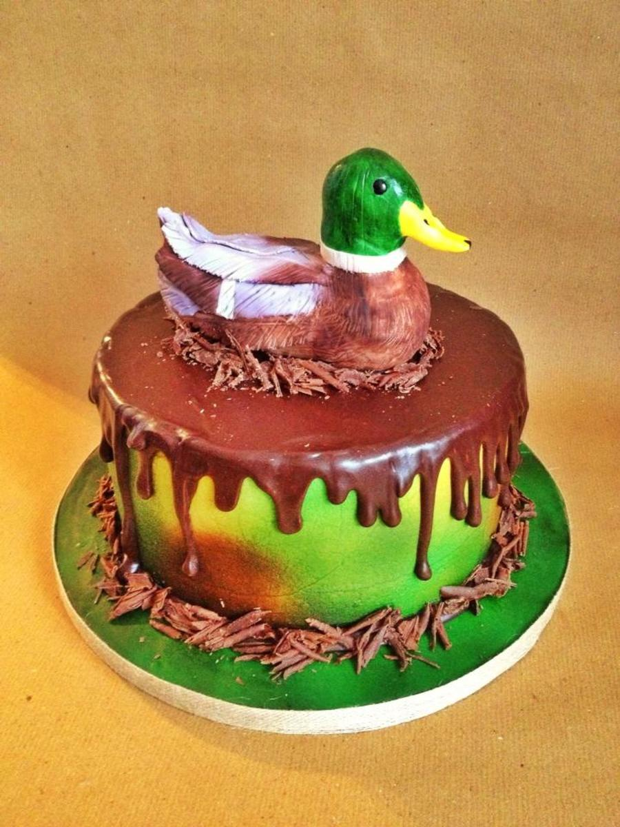 Buttercream Cake Dripped With Chocolate Ganache And A Modeling Chocolate Duck On Top on Cake Central