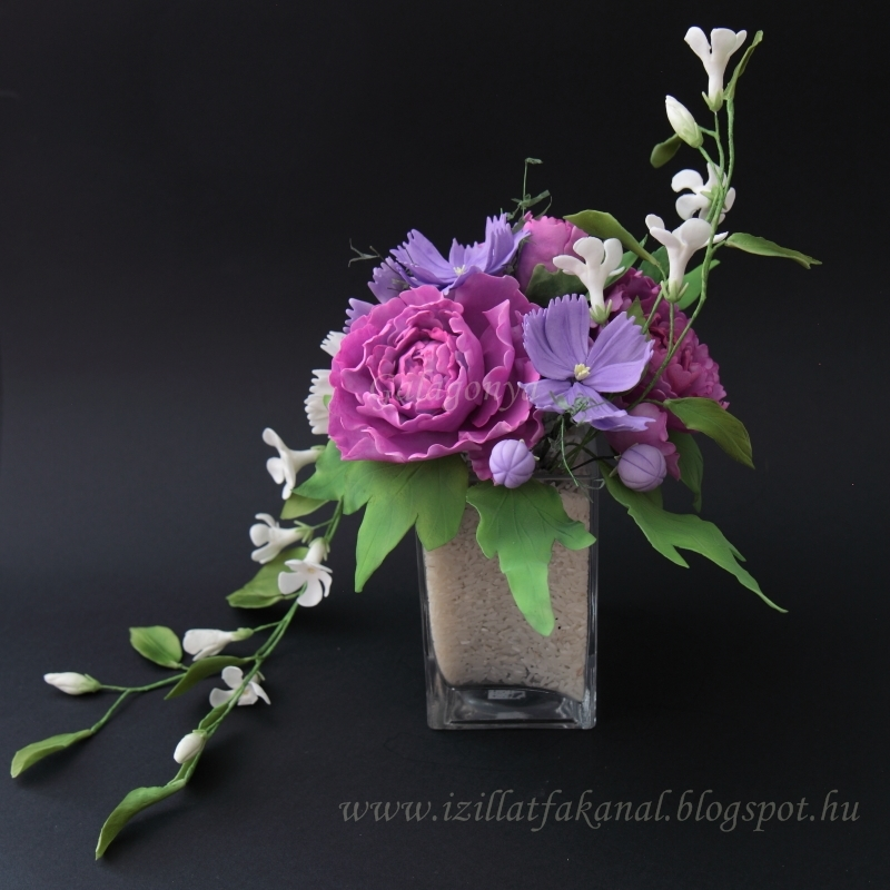 Cosmos, Peony, Periwinkle Bouquet - CakeCentral.com