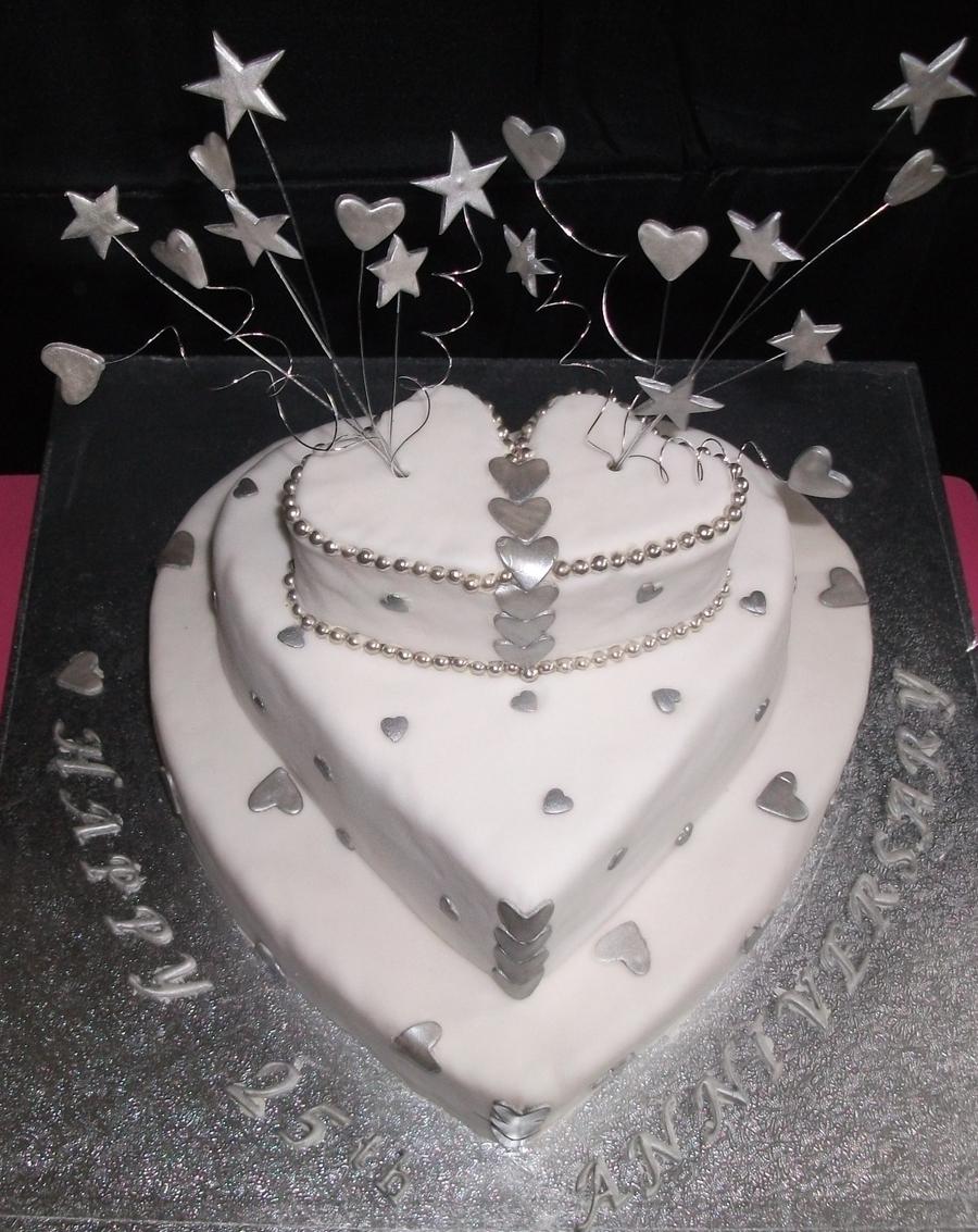 Silver Wedding Anniversary Cake - CakeCentral.com