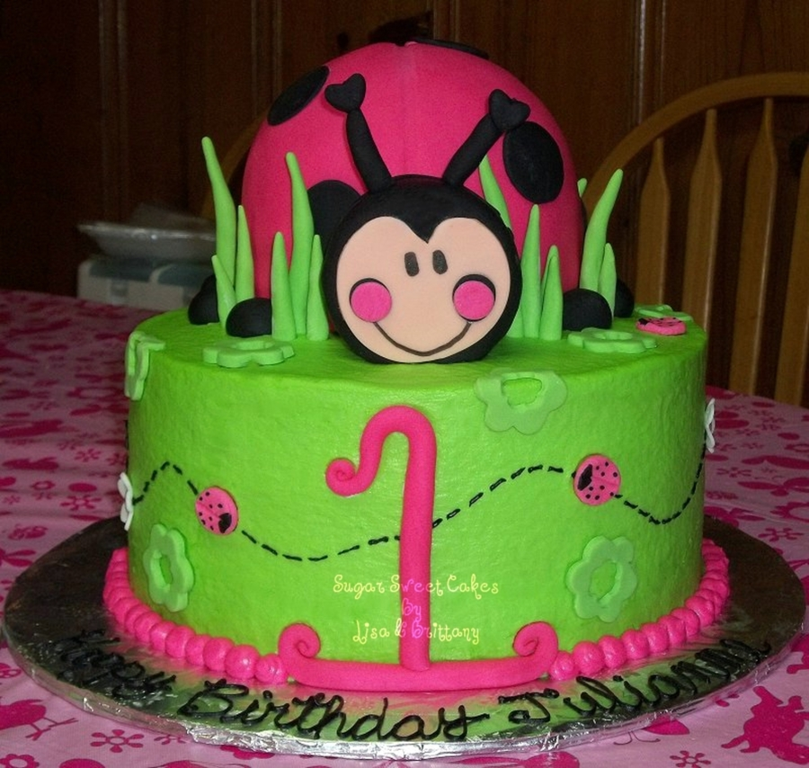 Giant Lady Bug Cake Was Made Using Wilton Ball Pan On Top Of A 6 Covered In Fondant White Strawberry Filling 3 Layer 10 W Cream