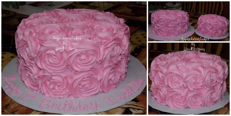 Buttercream Roses ~ 1St Birthday on Cake Central