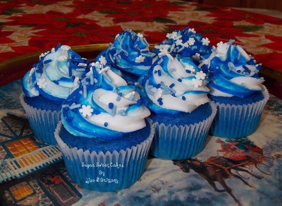 Blue Icing Cake With Silver Sprinkles