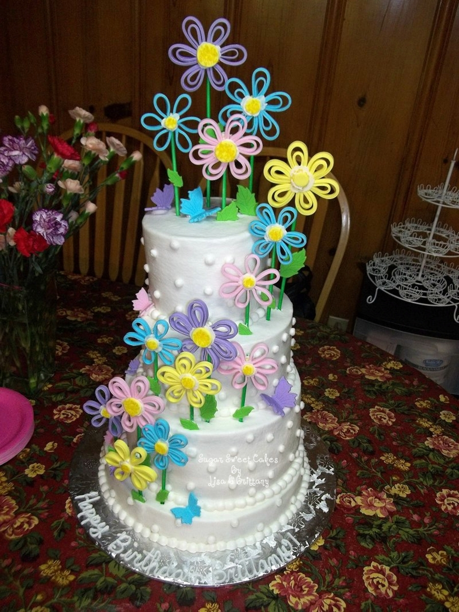 Astonishing Breezy Blossoms Brittanys 25Th Birthday Cake Cakecentral Com Funny Birthday Cards Online Overcheapnameinfo