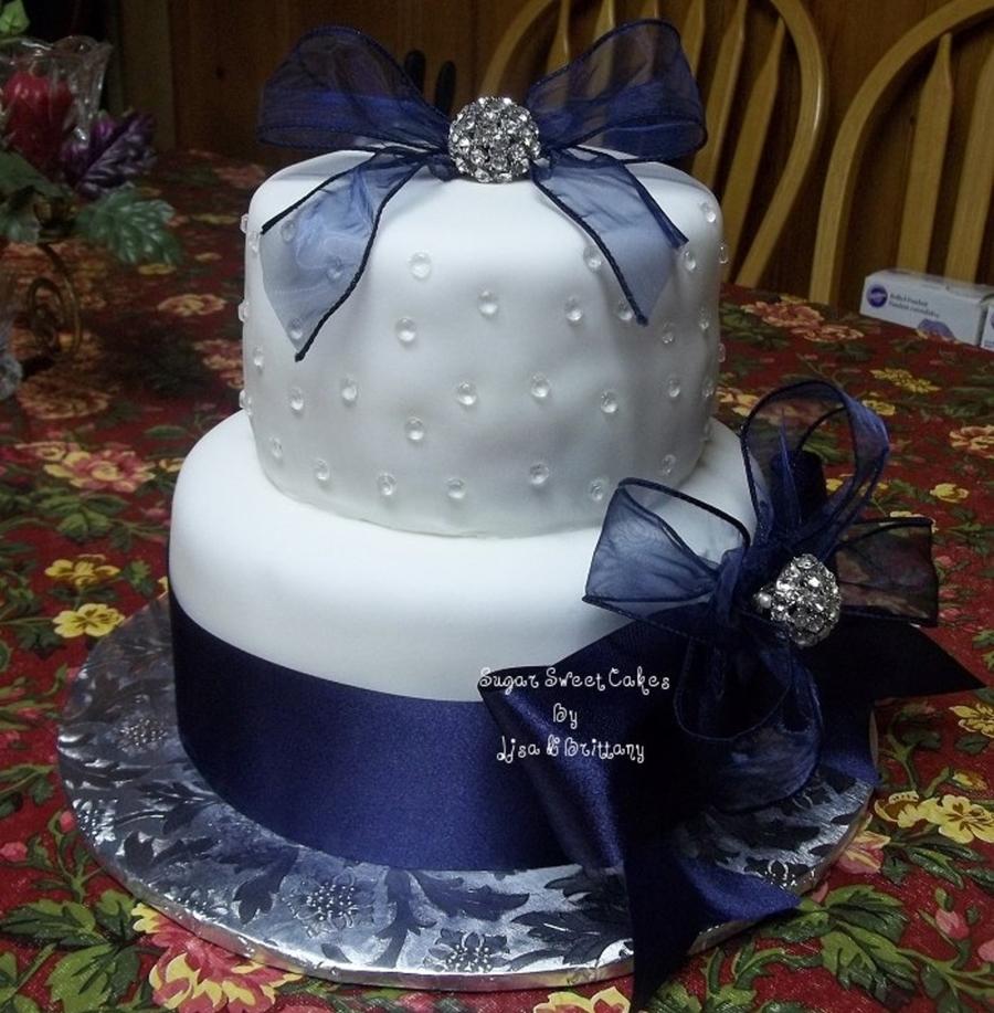 Navy Blue & White Wedding Cake - CakeCentral.com