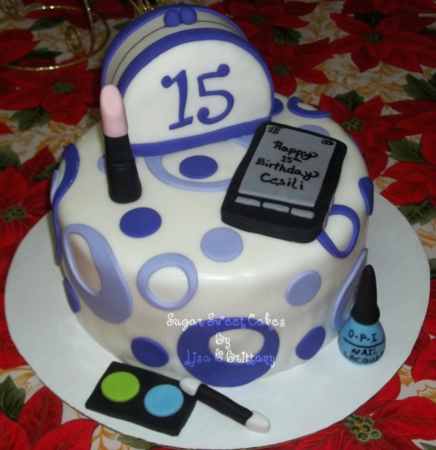 15Th Birthday Makeup Cell Phone CakeCentralcom