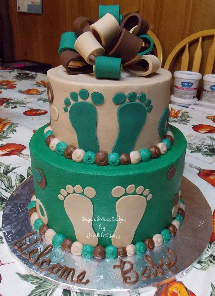 Camoflauge Baby Feet on Cake Central