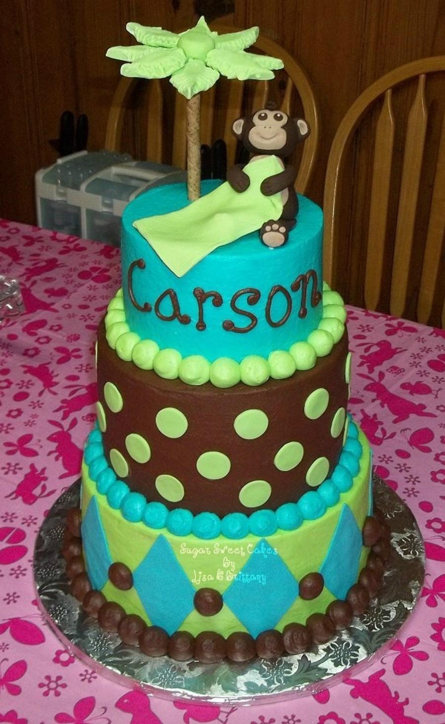 Baby Monkey Baby Shower Cake Cakecentralcom