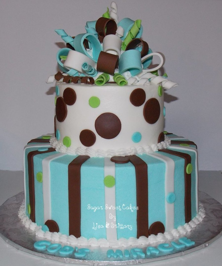 Polka Dots, Stripes, & Bow - CakeCentral.com