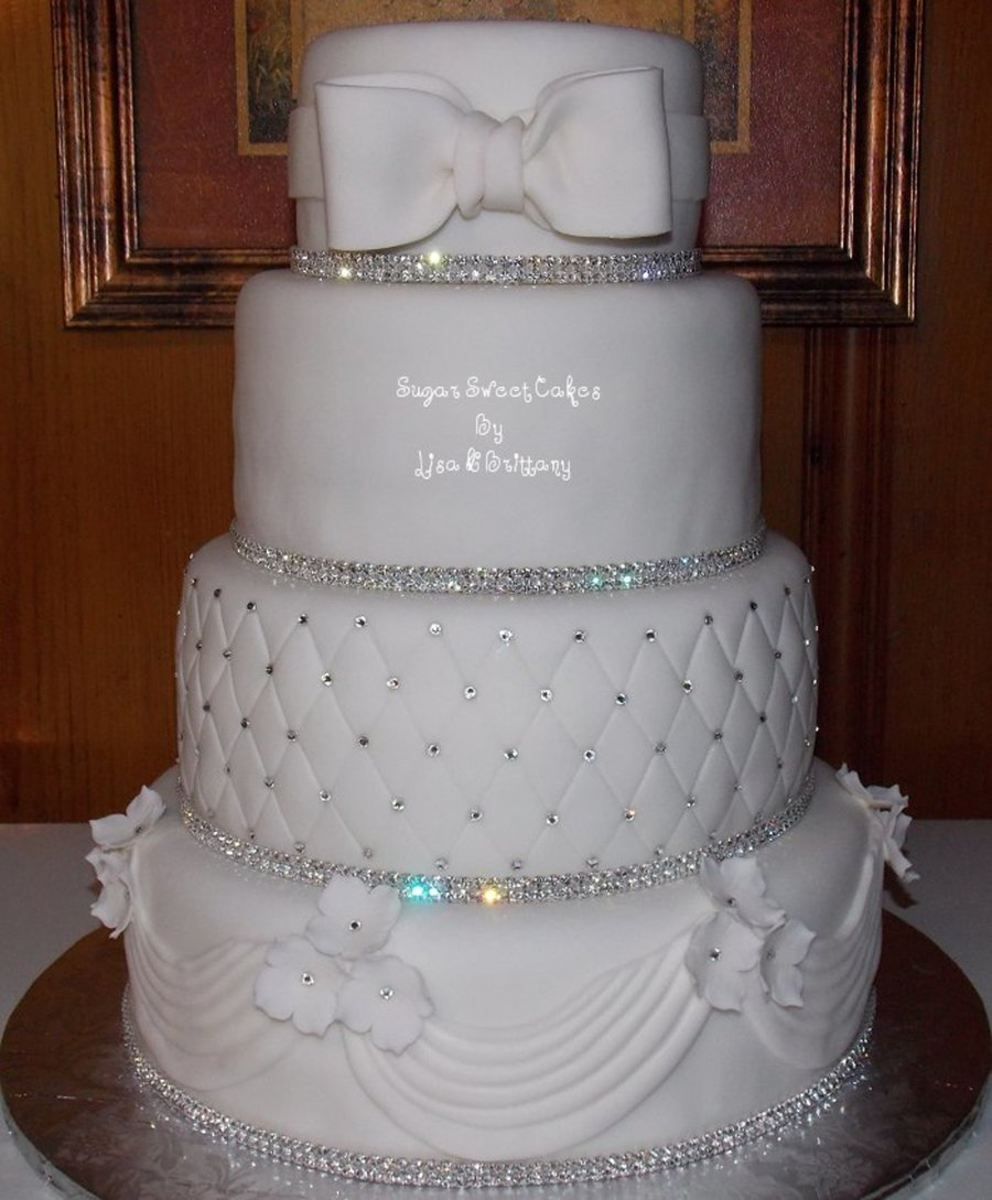 Crystal & White Wedding Cake - CakeCentral.com