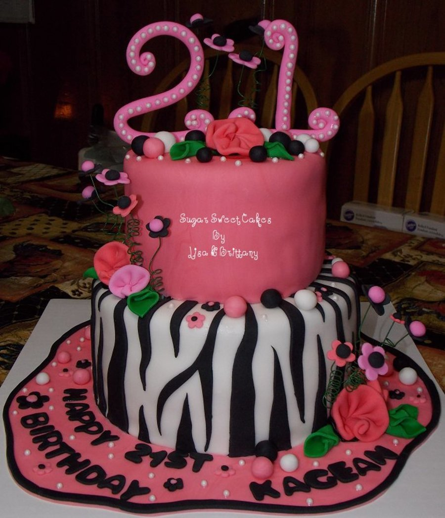 Cake Decorating Central Northmead : 21St Brthday ~ Zebra & Roses - CakeCentral.com