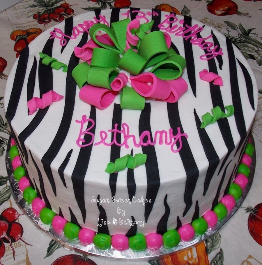 Lime & Pink Zebra on Cake Central