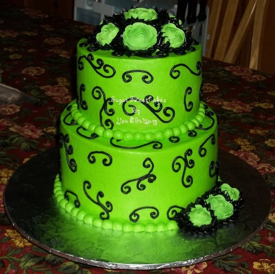Lime Green & Black ~ Wedding on Cake Central