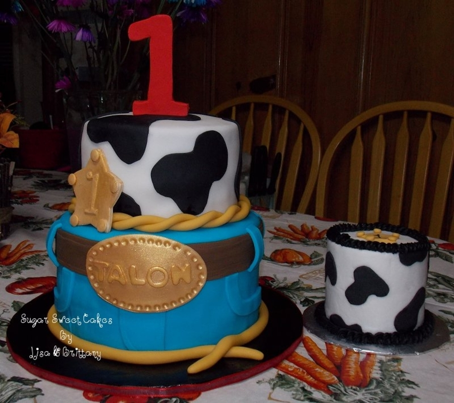 Nail Cake Blue Black Splodges Cow Print: Cowboy 1St Birthday