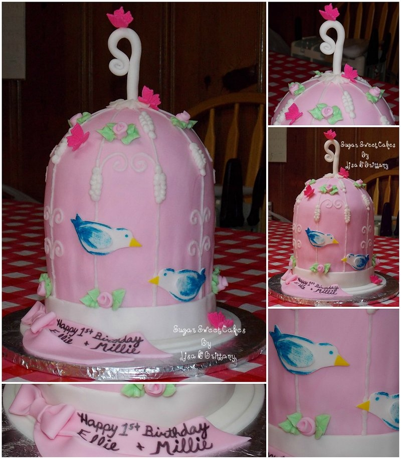 Birdcage Cake For Twin Girls CakeCentralcom