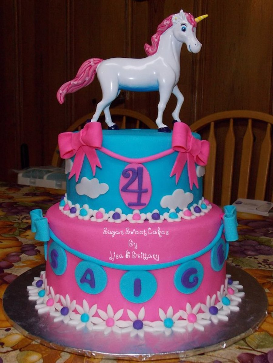 Pink & Blue Unicorn  on Cake Central