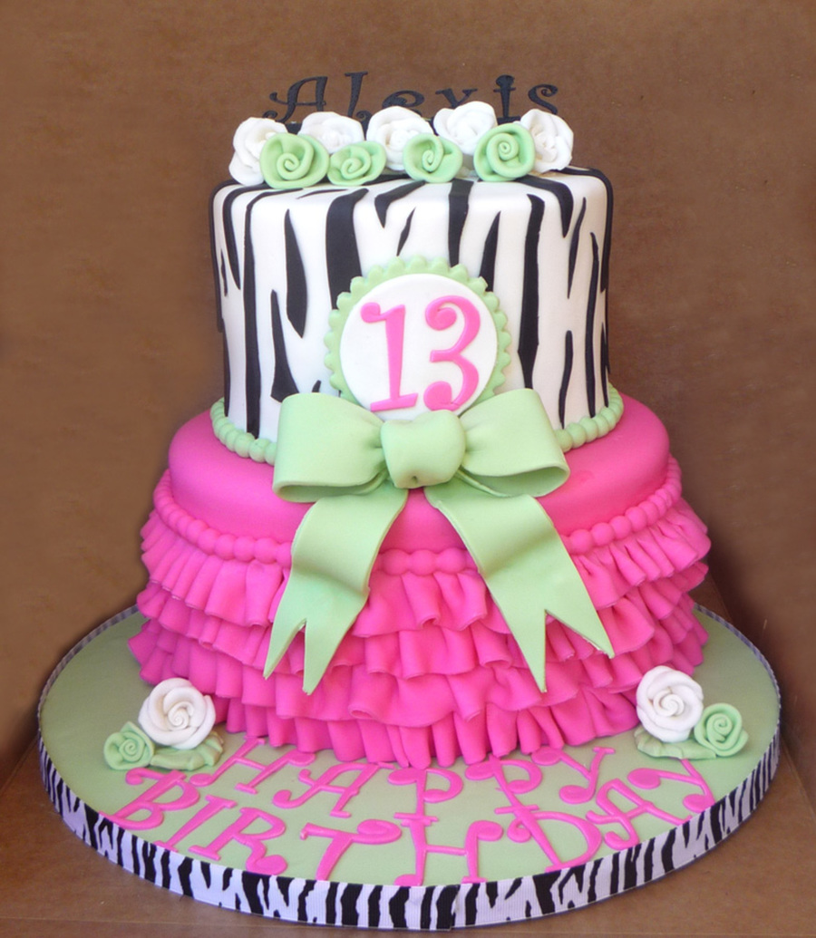 Hot Pink And Lime Green Birthday Cakes Icing Smiles Cake By Cakery Creation