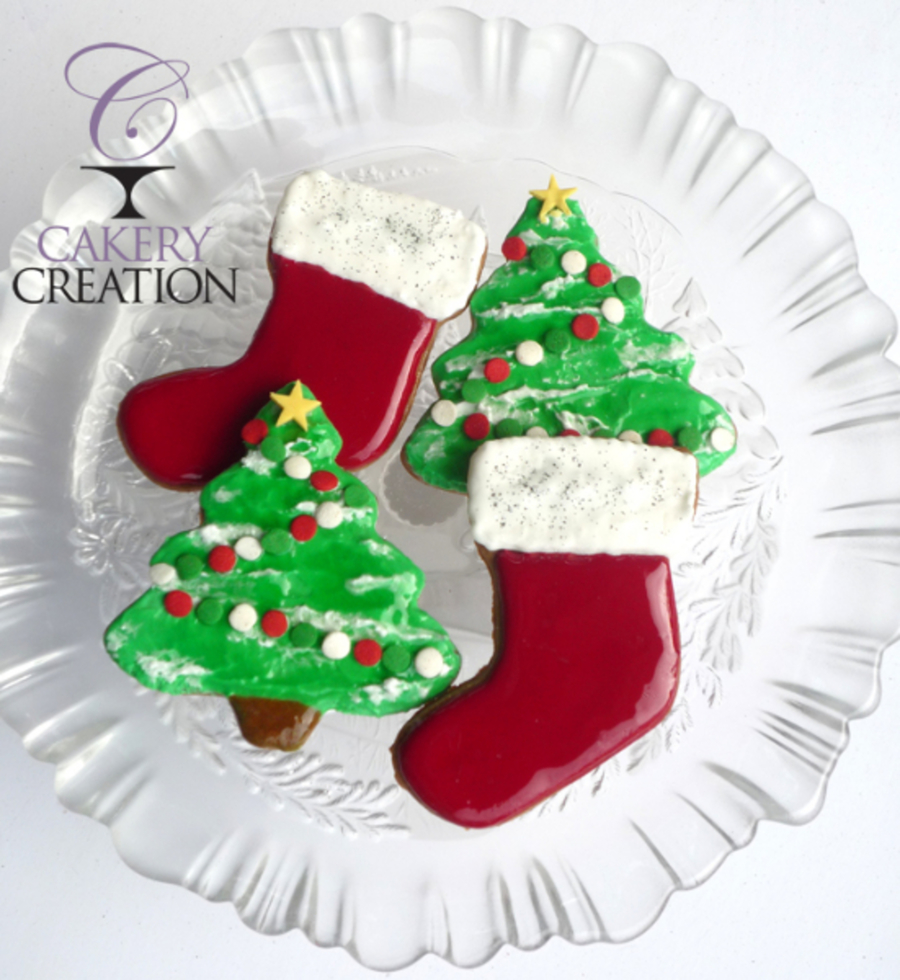 Holiday Tree And Stocking Cookies on Cake Central