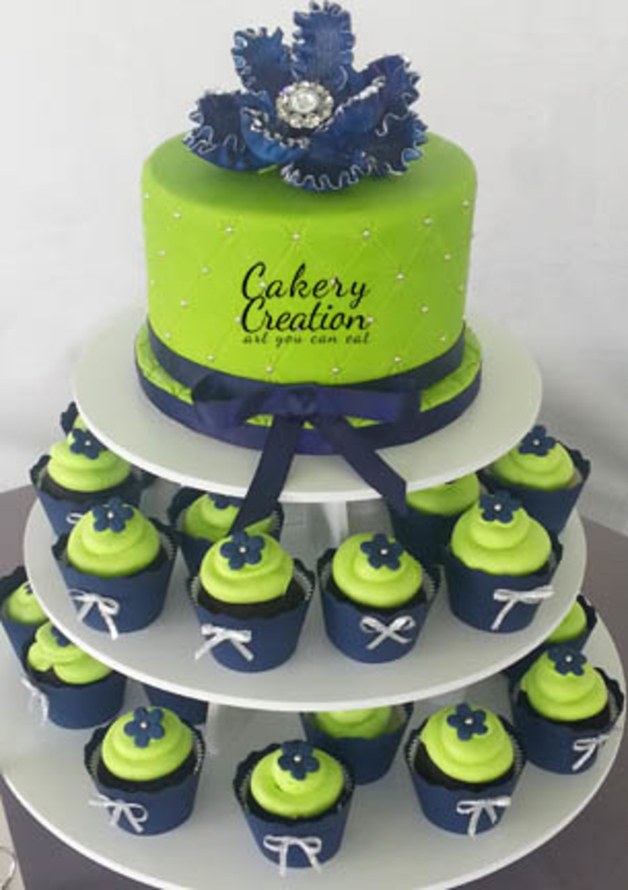 Lime Green And Navy Cake And Cupcake Tower Cakecentral Com