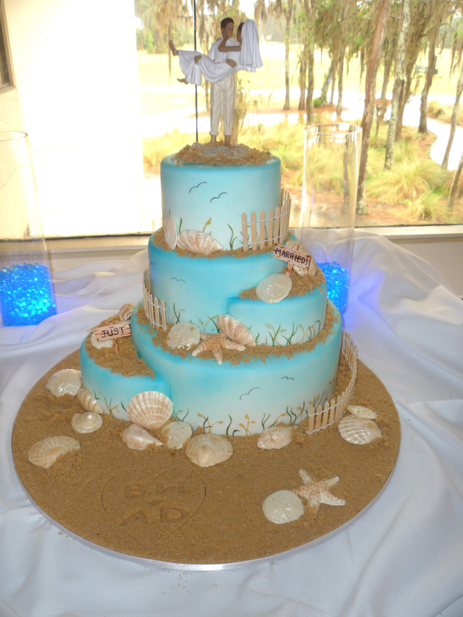 beach themed wedding cake table velvet with white chocolate ganache chocolate shells 11152