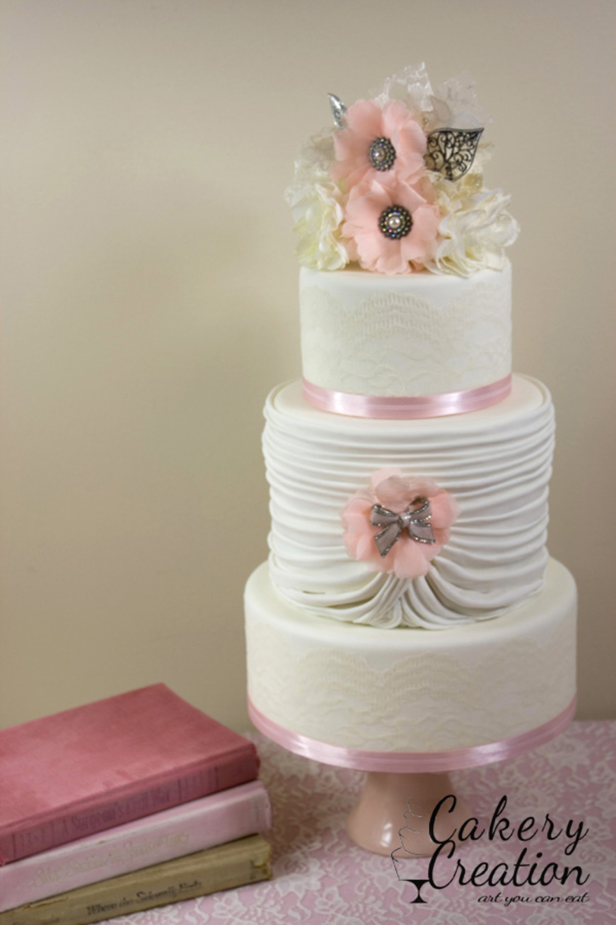 Vintage Lace Wedding Cake By Cakery Creation In Daytona Beach on Cake Central