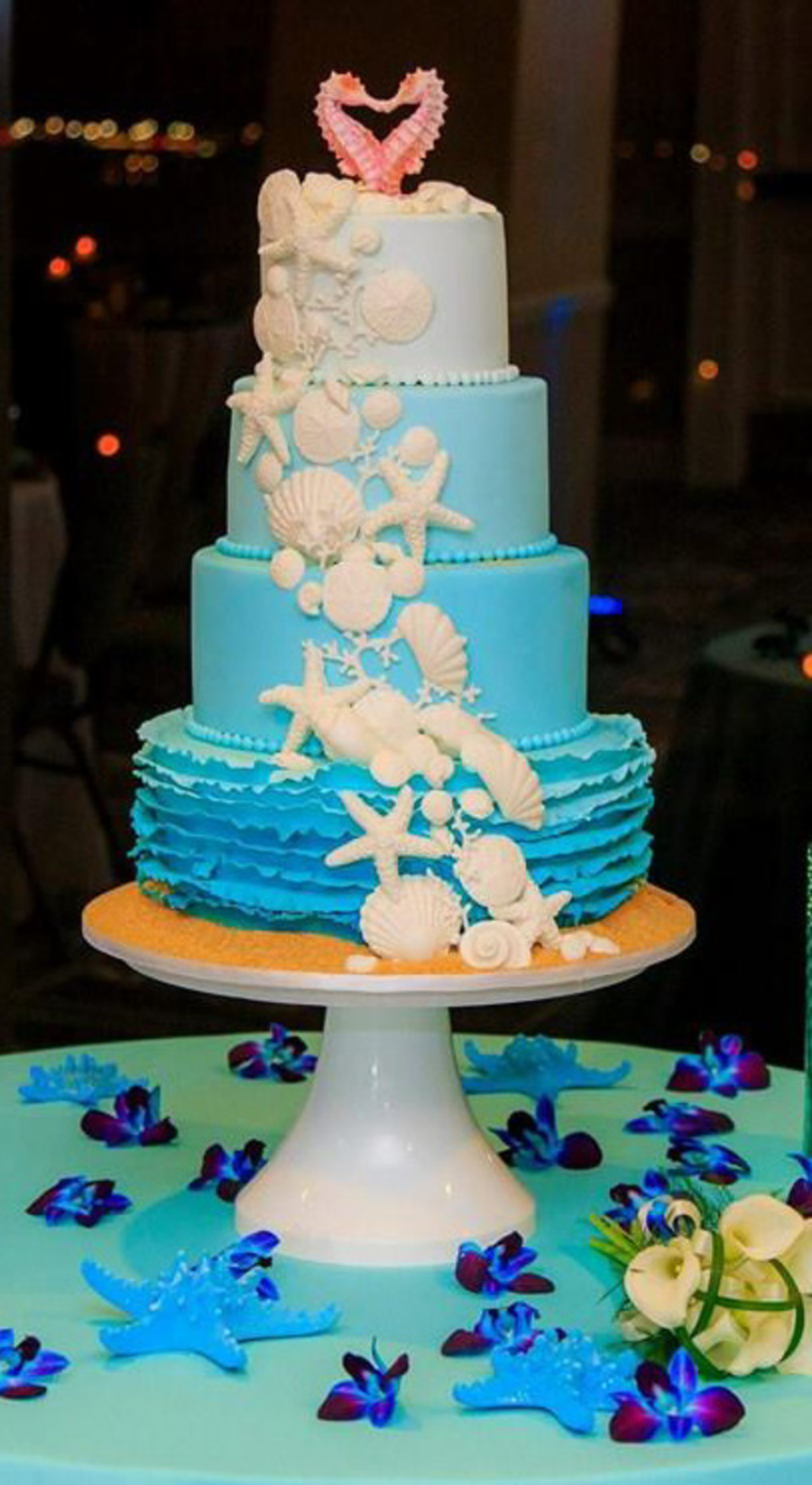 Ombre Beach Themed Wedding Cake Cakecentral