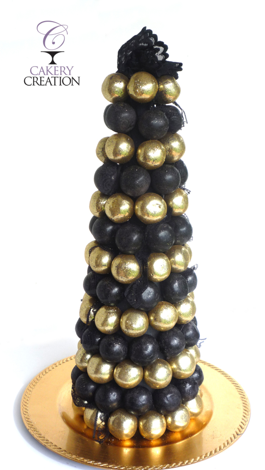Great Gatsby Inspired Cake Ball Tree In Black And Gold on Cake Central