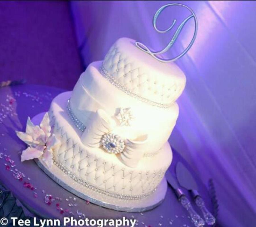 White And Silver Wedding Cake. on Cake Central