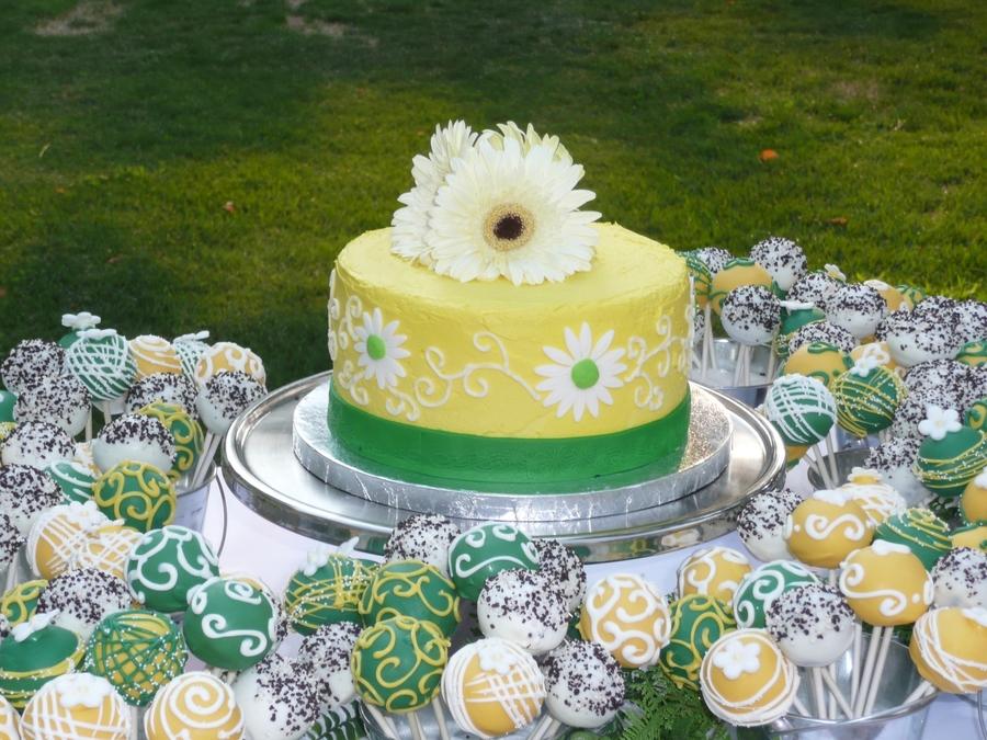 Lemon Wedding Cake And Cake Pops - CakeCentral.com