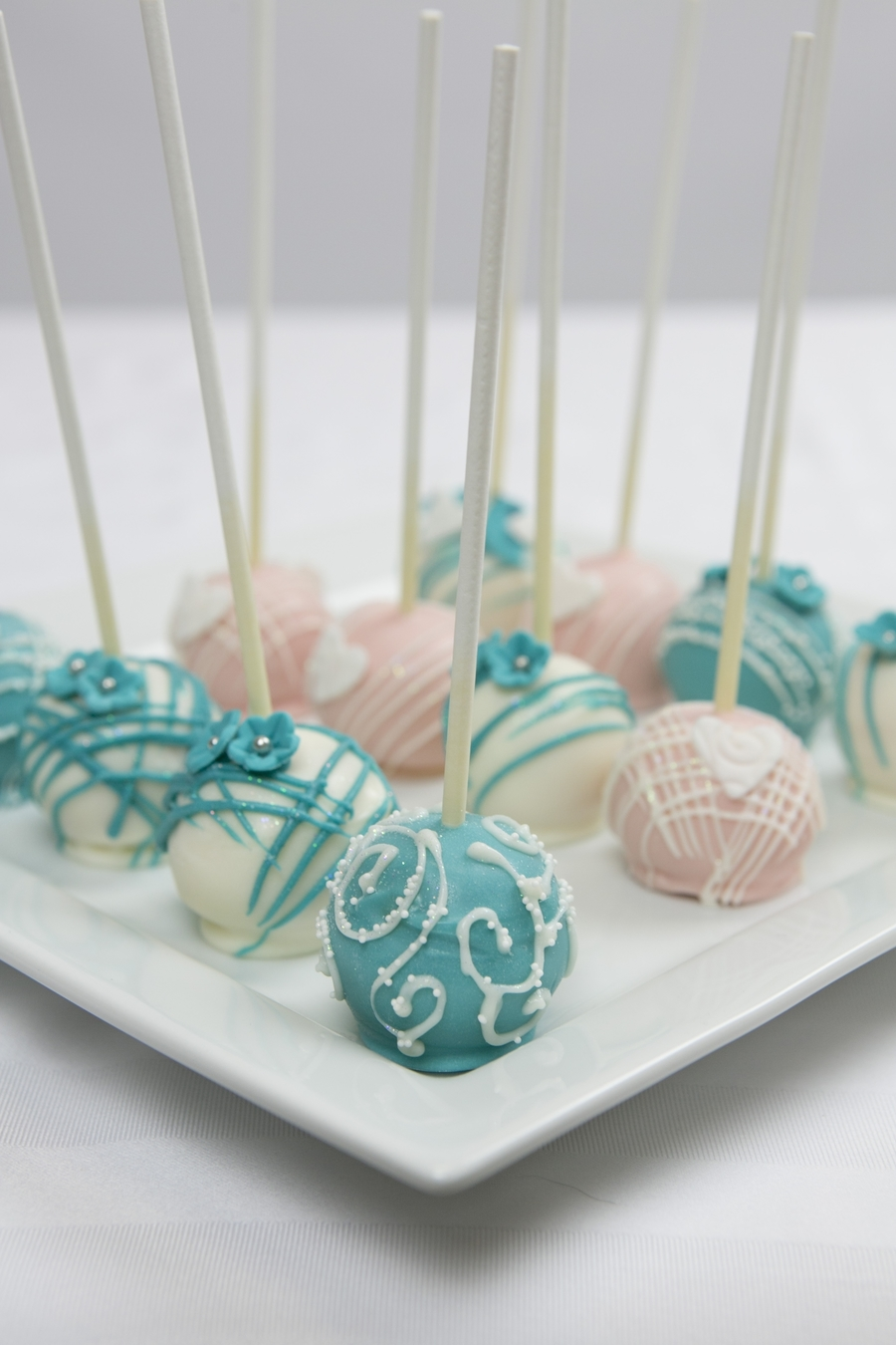 wedding pop cakes teal and pink wedding cake pops cakecentral 9865
