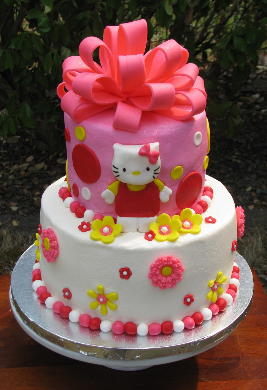 Hello Kitty With A Big Bow Cake CakeCentralcom