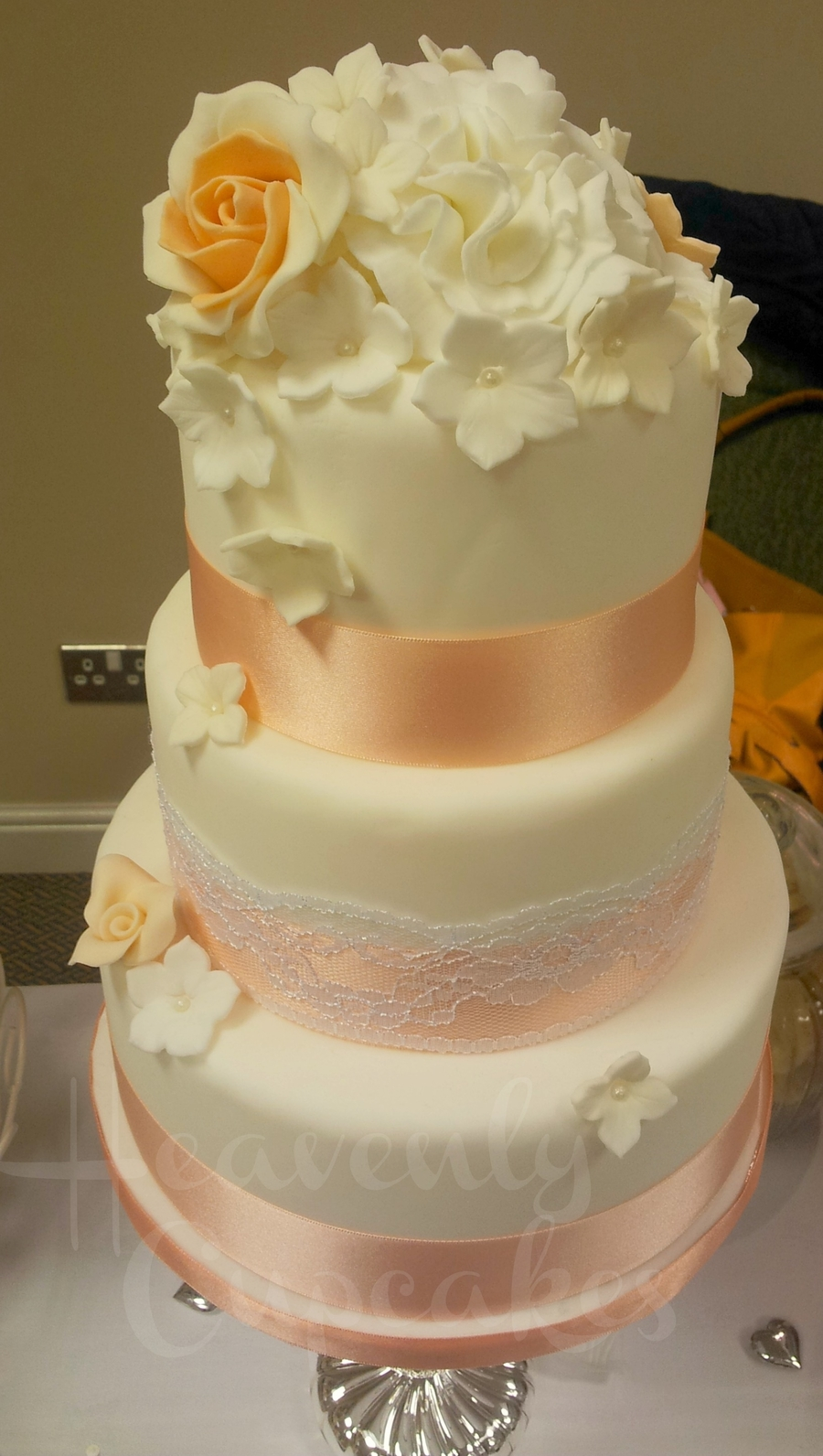 3Tier Peach And Lace Wedding Cake on Cake Central