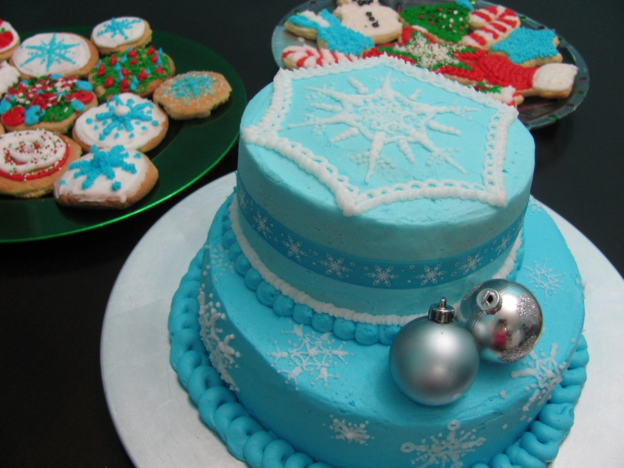 Light Blue Snowflake Cake on Cake Central