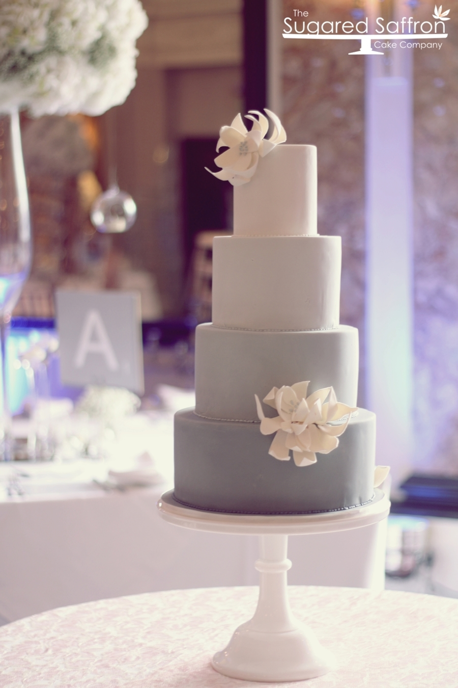 Ombre Grey Cake And Structural Flowers on Cake Central