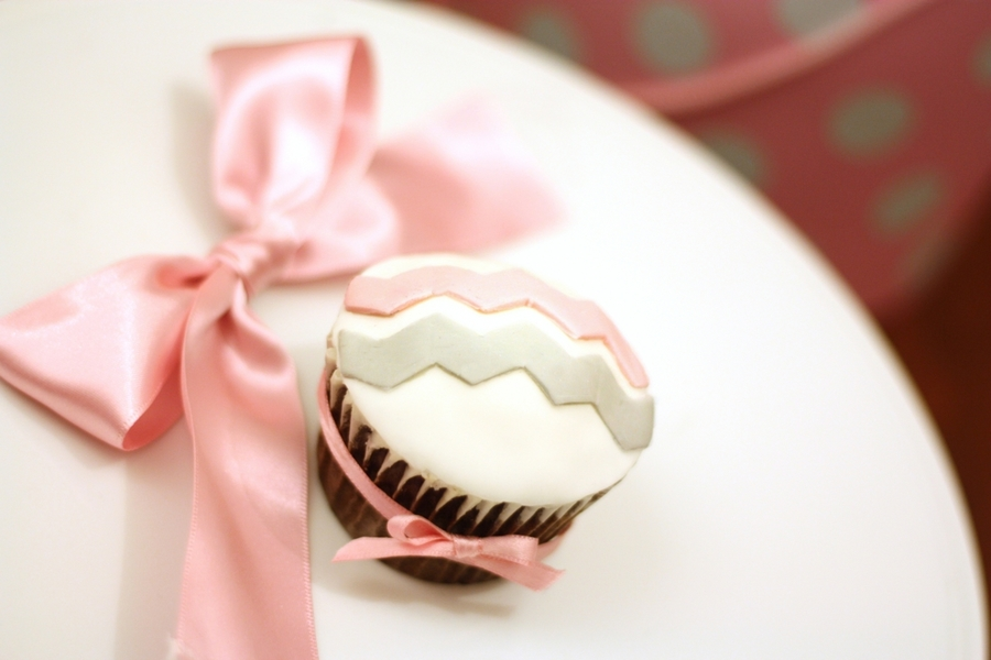 Chevron Cupcake In Pink And Grey on Cake Central