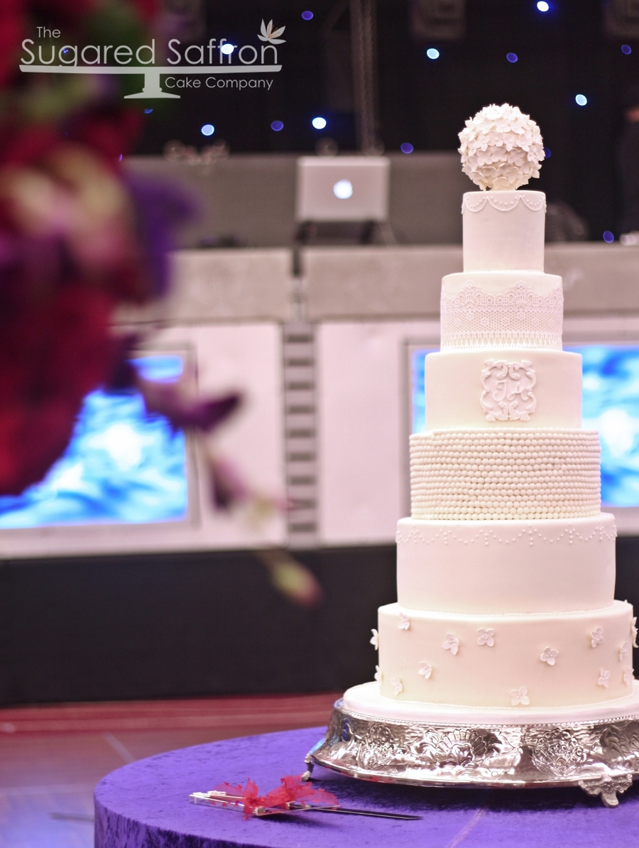 All White Wedding Cake on Cake Central