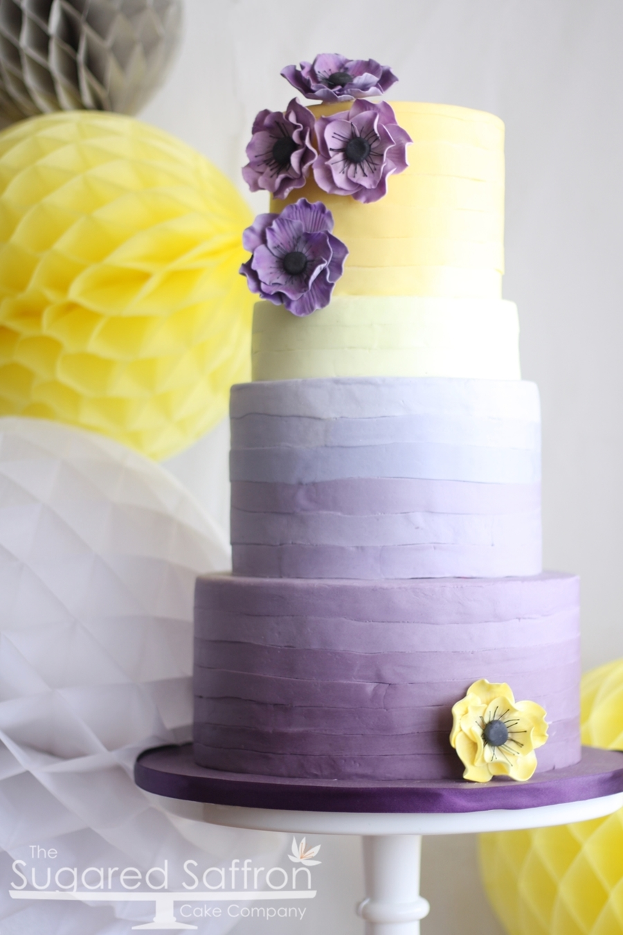 Purple And Yellow Anemone Cake on Cake Central