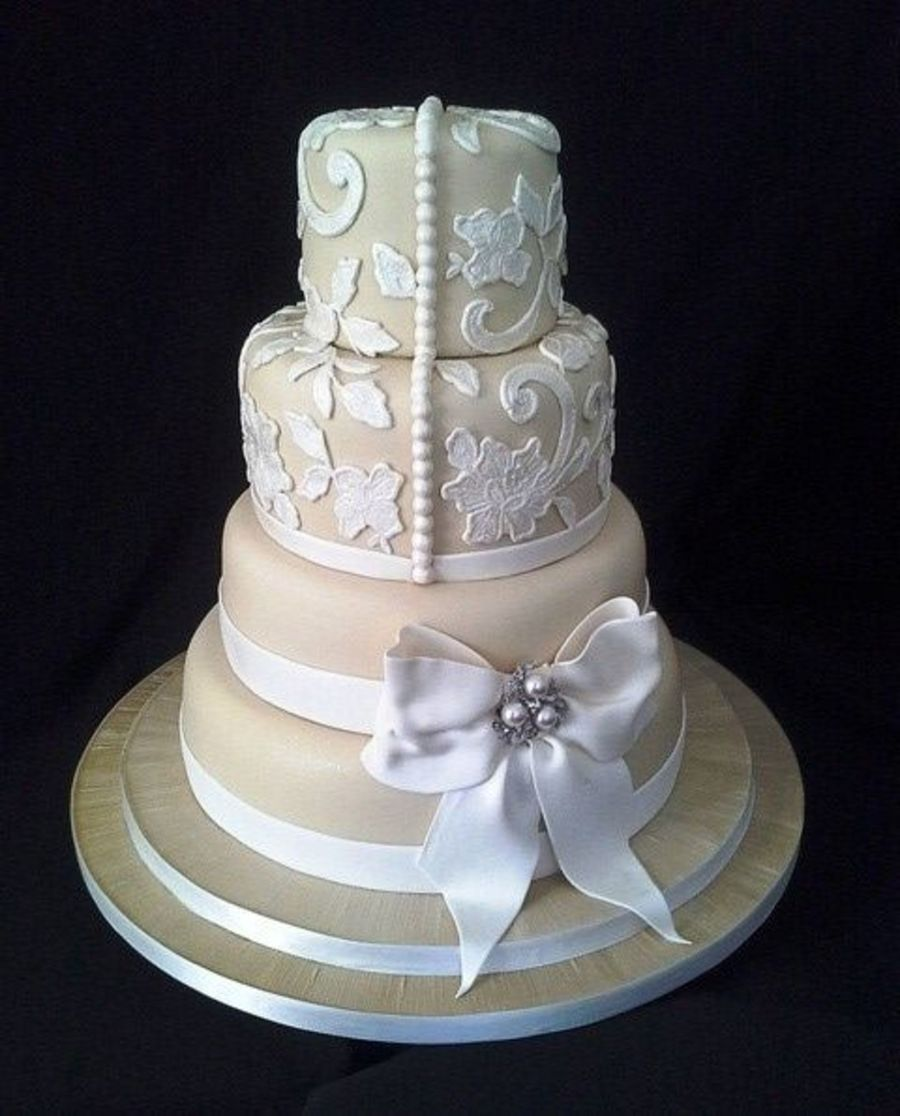 Champagne Coloured Fondant Decorated With Lace And A Gum Paste Bow on Cake Central