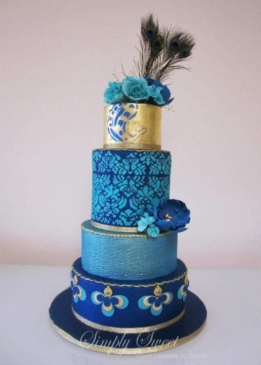Peacock Blue Wedding Cake Cakecentral Com