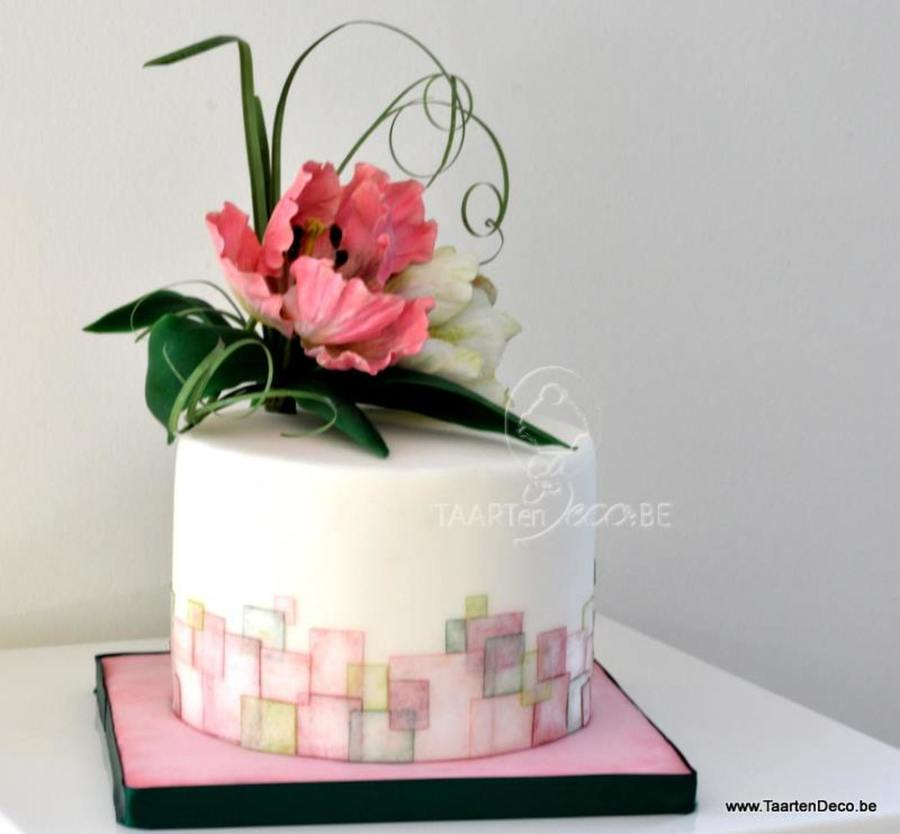 Cake With Parrot Tulips And Square Pattern Cakecentral Com