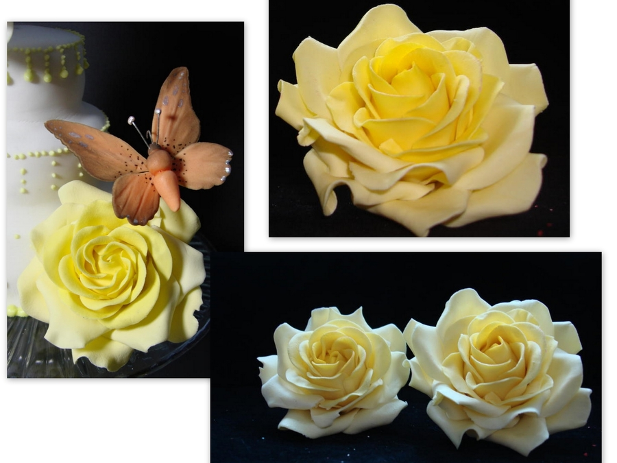 Yellow Roses, Butterfly on Cake Central