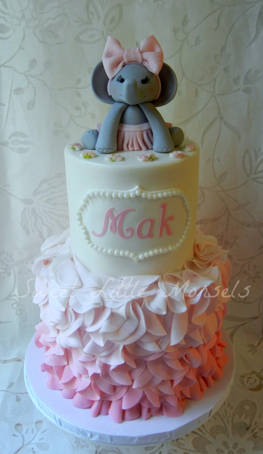 Pink Ombre Ruffle Baby Shower Cake Cakecentral Com