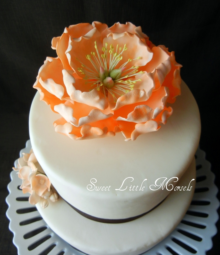 Cake With Fondant Peony : Open Peony Cake - CakeCentral.com
