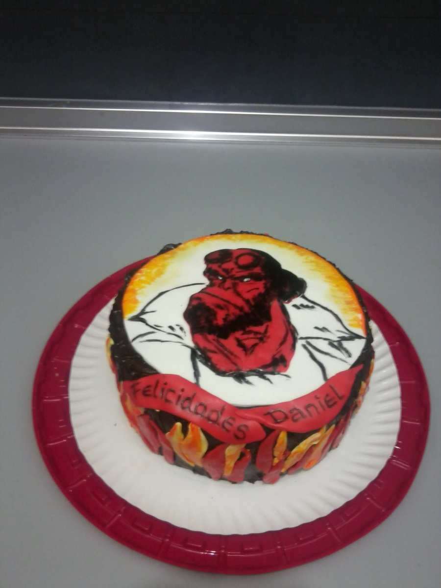Hell Boy Chokolate Cake With Handpainted Fondant on Cake Central