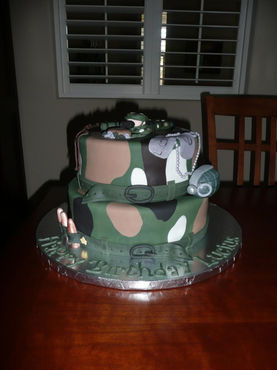 Groovy Army Birthday Cake Cakecentral Com Funny Birthday Cards Online Benoljebrpdamsfinfo