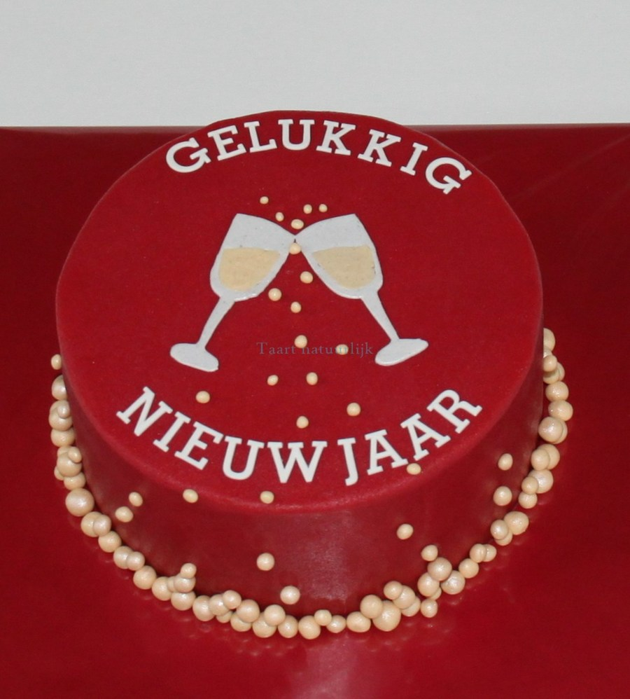 Its Says Happy New Year Filled With Champagnecream And Raspberries Covered In Marzipan on Cake Central