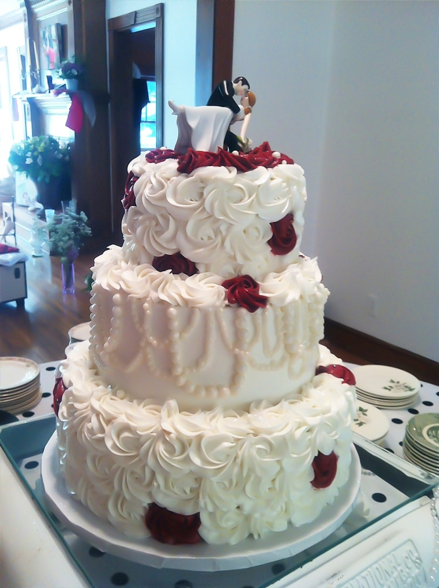 Pearls And Roses Wedding Cake on Cake Central