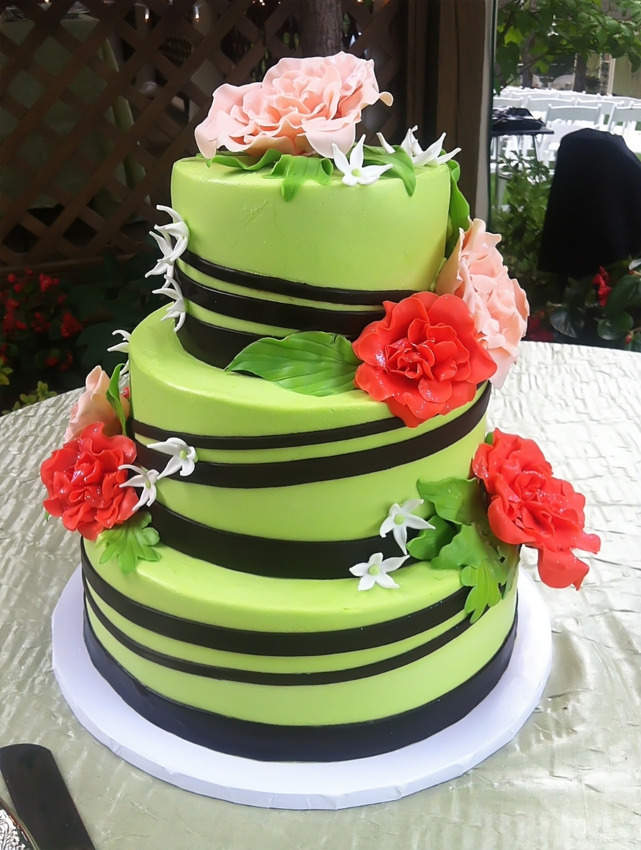Green Wedding Cake With Flowers on Cake Central