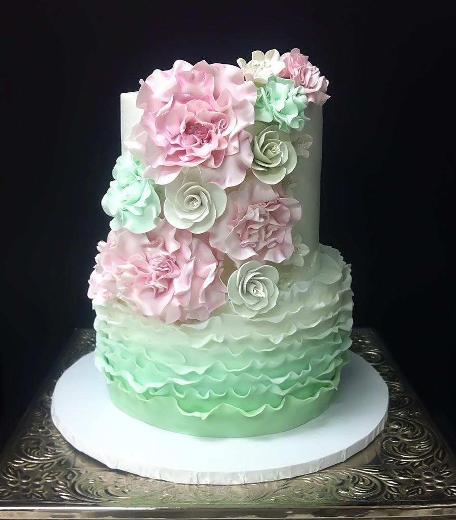 Mint And Blush Bridal Shower Cake on Cake Central