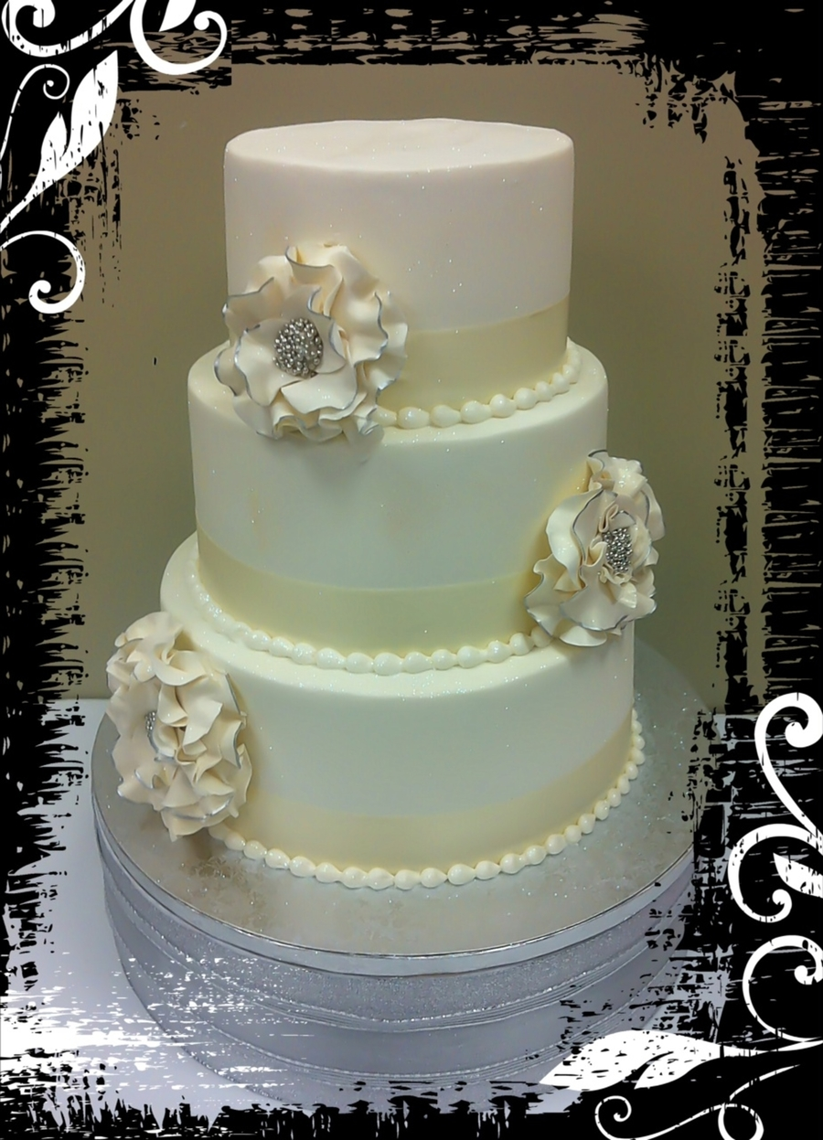 Simple Wedding Cake With Sugar Fantasy Flowers on Cake Central